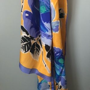 Accessories - Honey Goldenrod Blue long thin vintage scarf